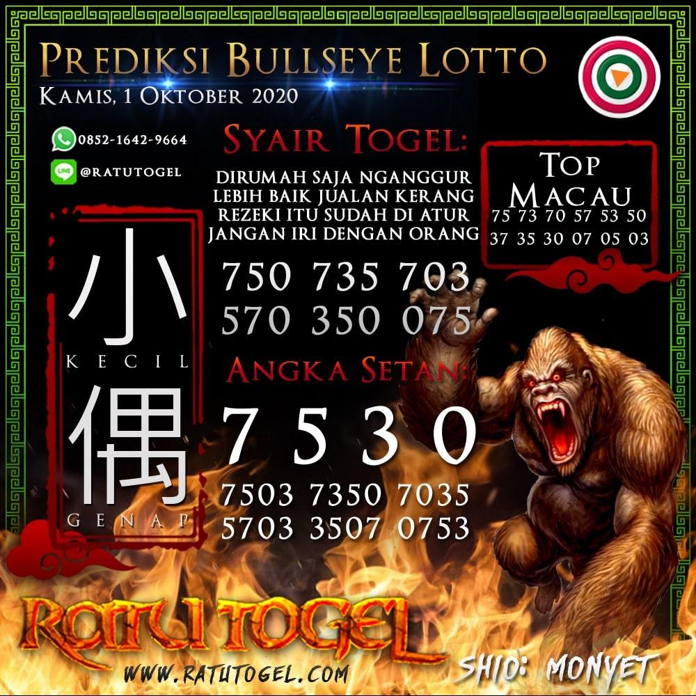Prediksi BULLSEYE Rabu 01 Oktober 2020 | Bocoran BULLSEYE 90% Akurat